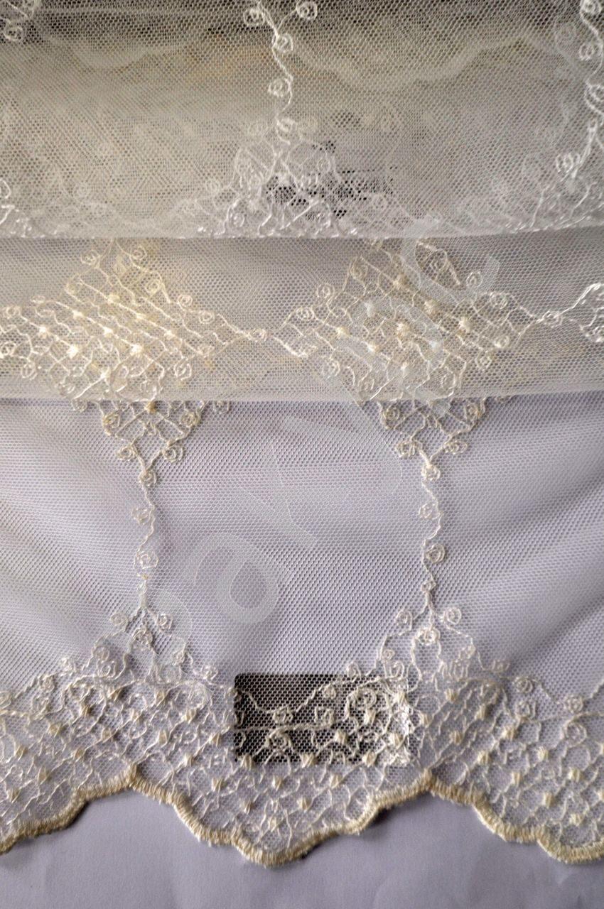 Тюль сетка с вышивкой по низу