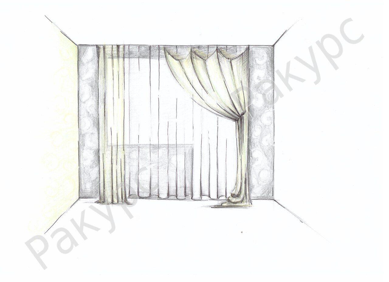 Нарисованное окно со шторами картинка.