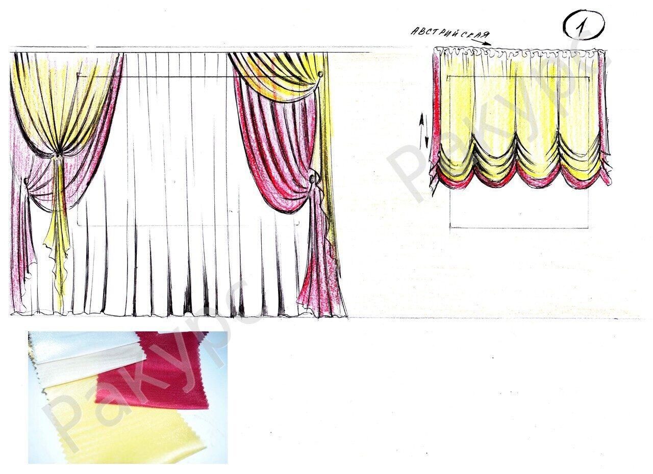 Эскизы штор для кухни фото