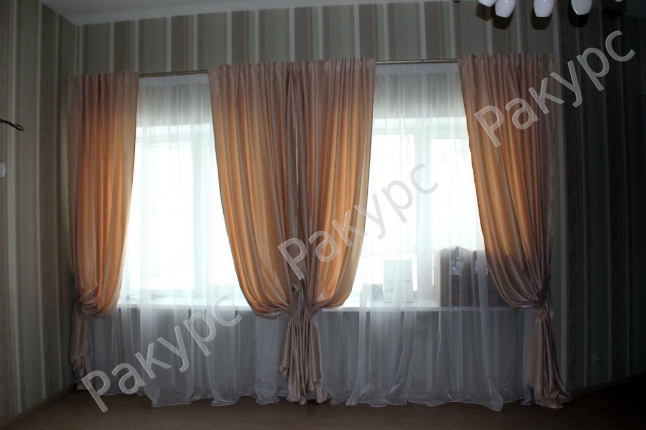Шторы на большое окно фото